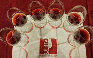 sei calici di vino rosso durante il corso onav